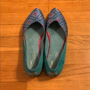 TOMS turquoise suede flats